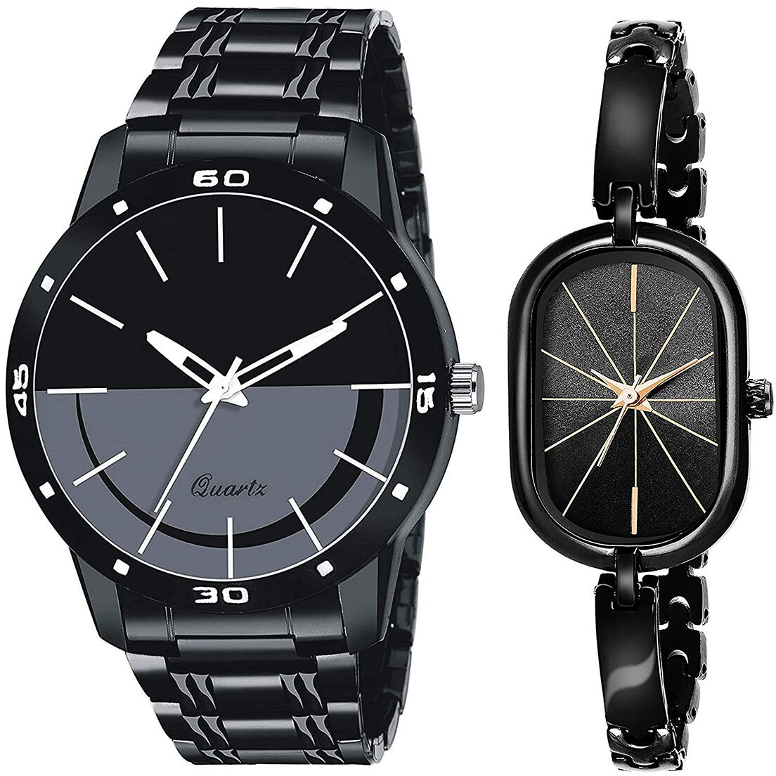 SENJARYA TIMES Black Dial Fancy Couple Watch For New Lovers DR067