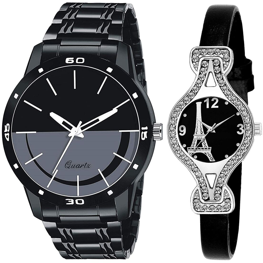 SENJARYA TIMES Black Dial Fancy Couple Watch For New Lovers DR068
