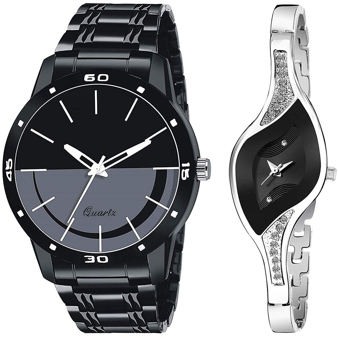 SENJARYA TIMES Black Dial Fancy Couple Watch For New Lovers DR069