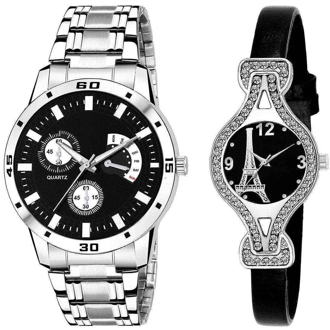 SENJARYA TIMES Black Dial Fancy Couple Watch For New Lovers DR078