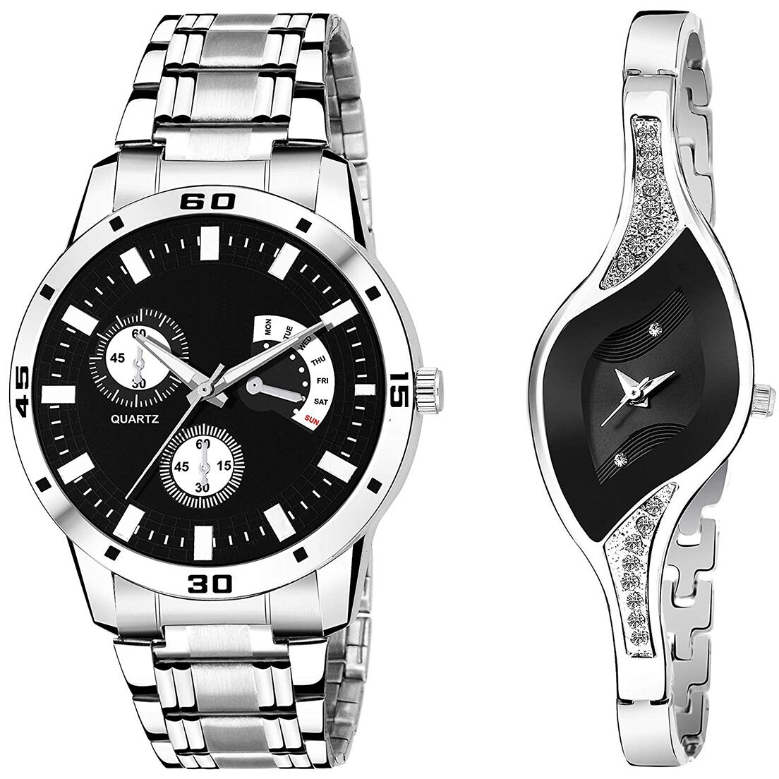 SENJARYA TIMES Black Dial Fancy Couple Watch For New Lovers DR079