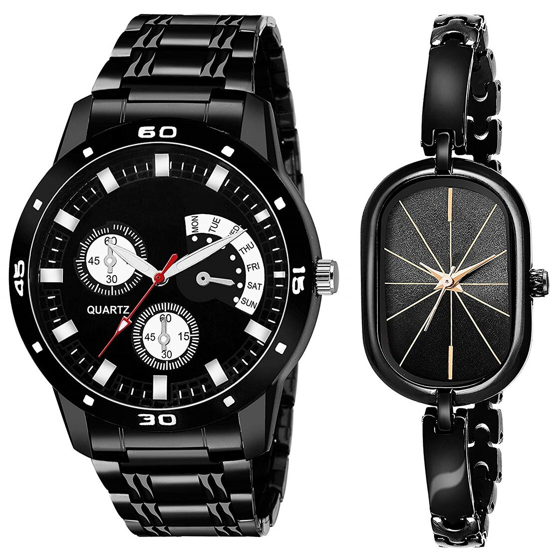 SENJARYA TIMES Black Dial Fancy Couple Watch For New Lovers DR087