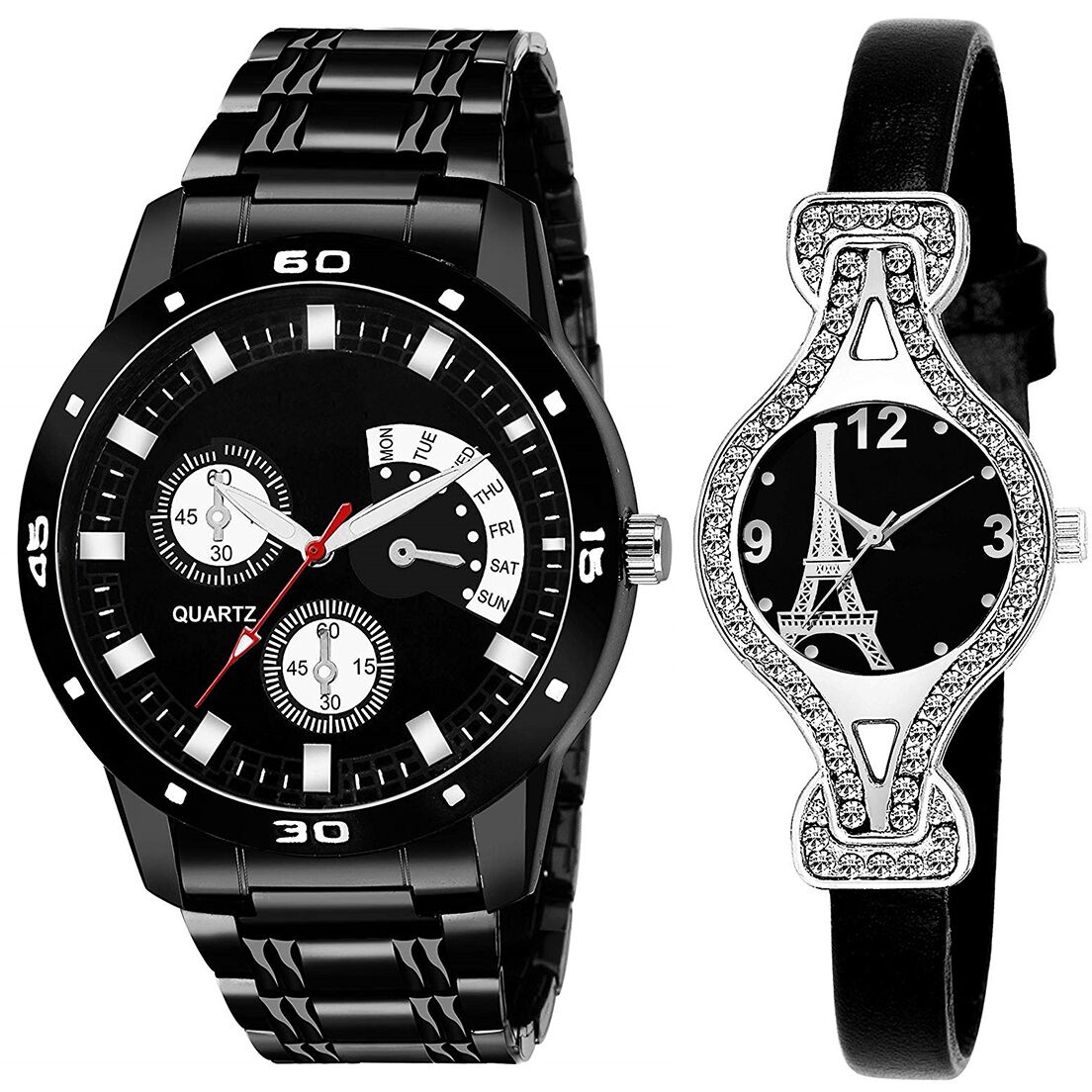 SENJARYA TIMES Black Dial Fancy Couple Watch For New Lovers DR088