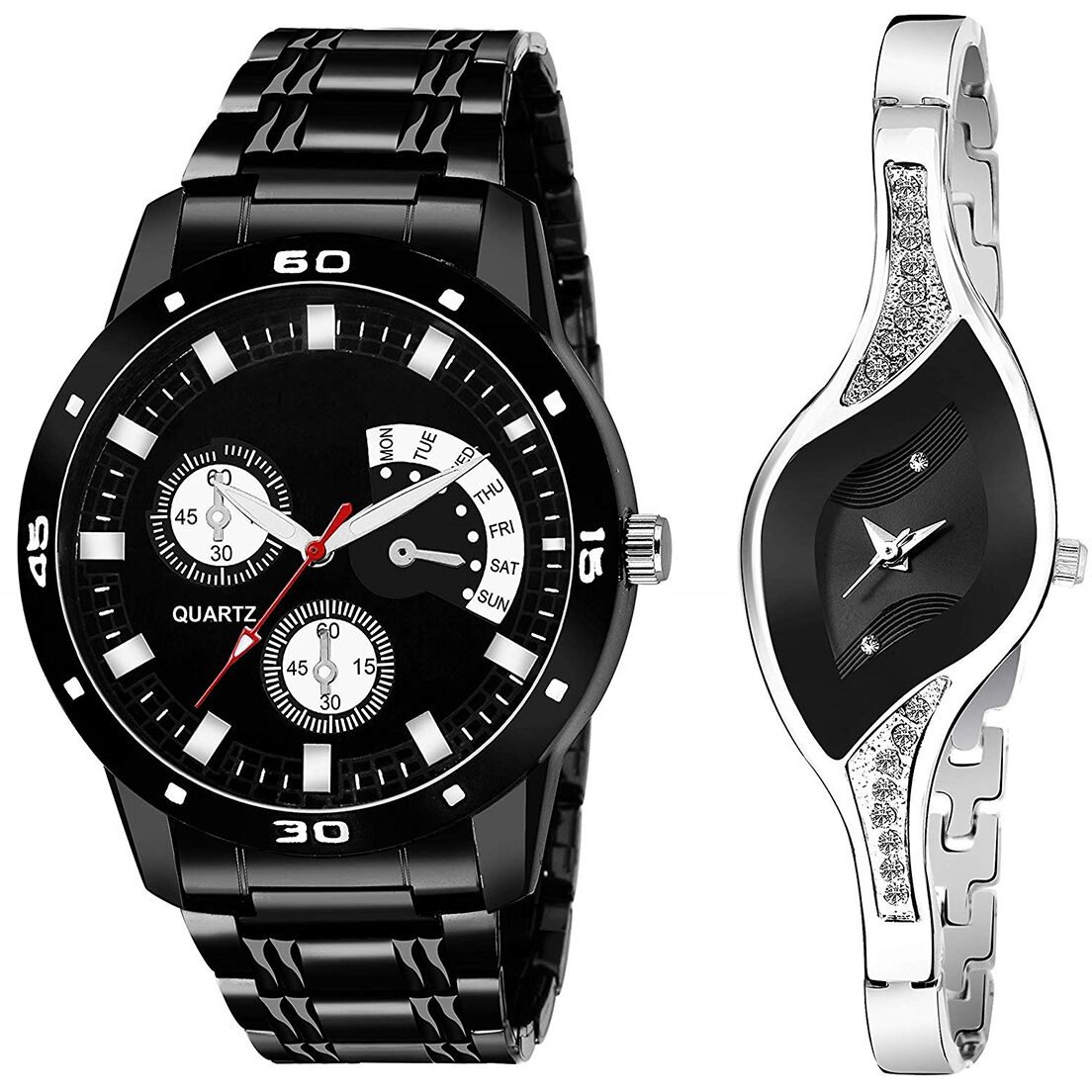 SENJARYA TIMES Black Dial Fancy Couple Watch For New Lovers DR089