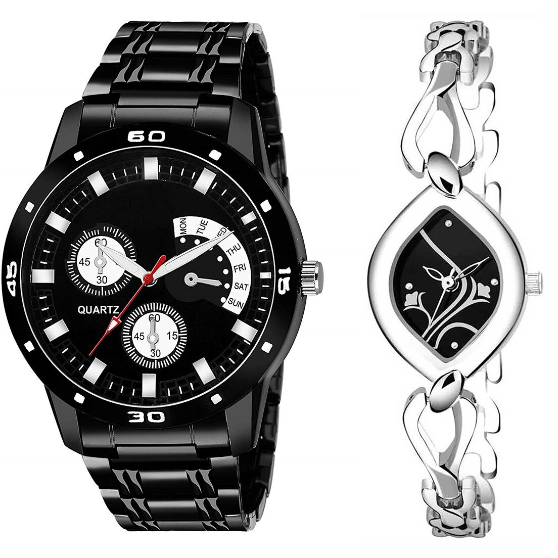 SENJARYA TIMES Black Dial Fancy Couple Watch For New Lovers DR090