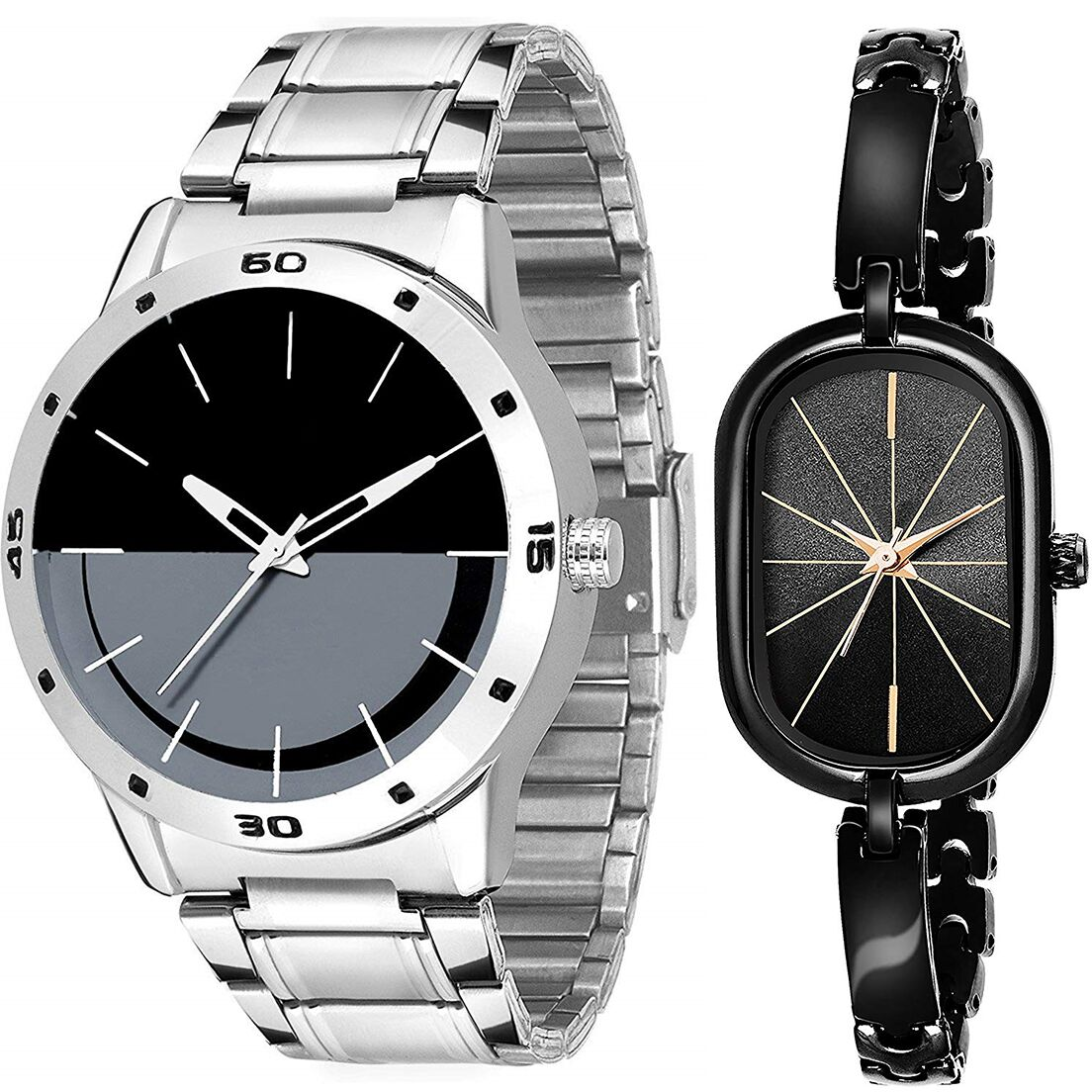 SENJARYA TIMES Black Dial Fancy Couple Watch For New Lovers DR092