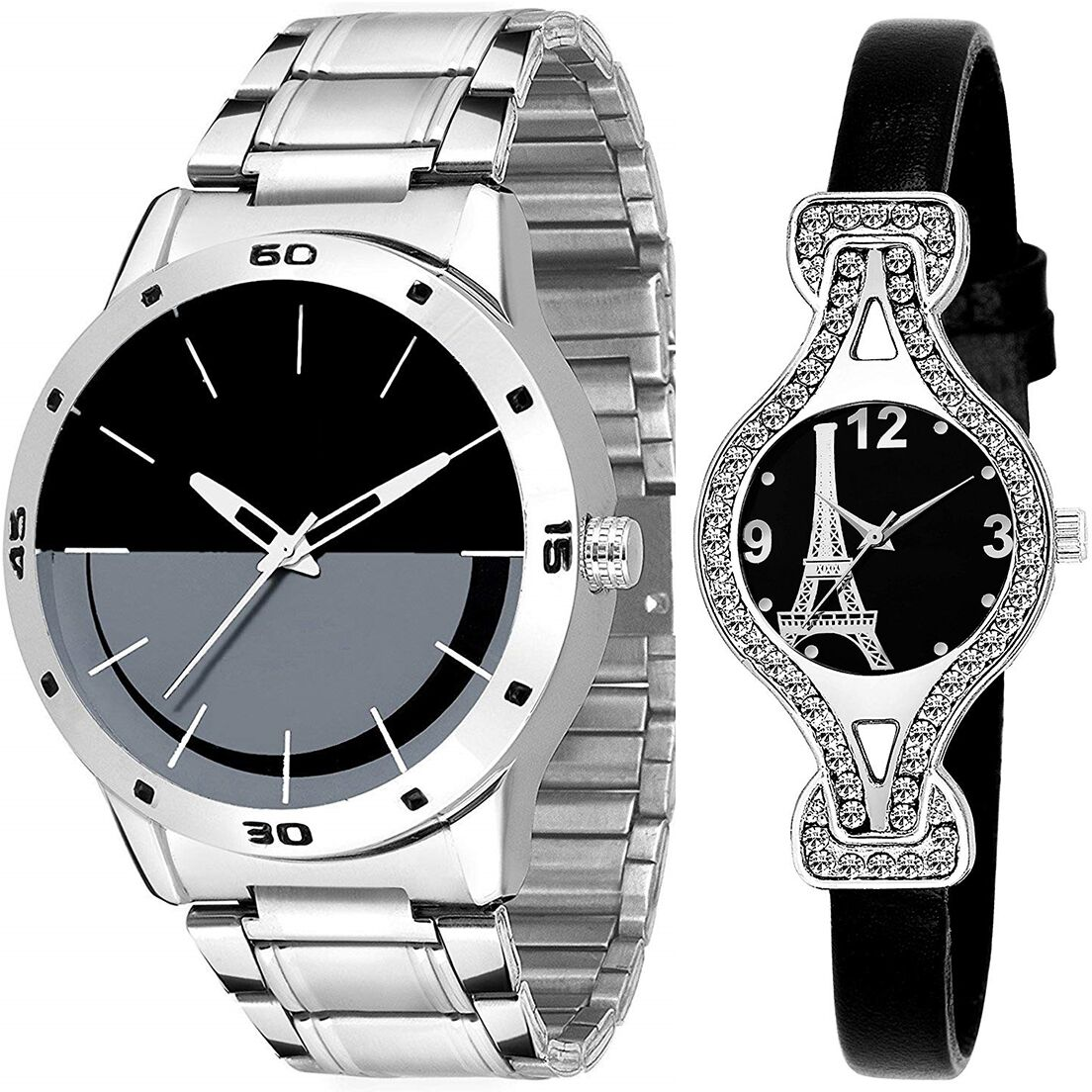SENJARYA TIMES Black Dial Fancy Couple Watch For New Lovers DR093