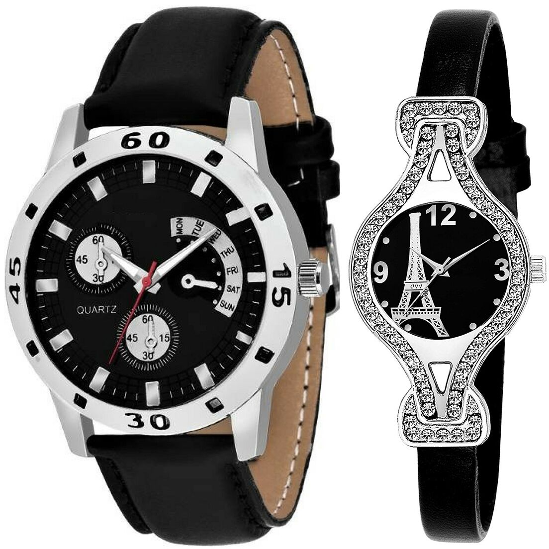 SENJARYA TIMES Black Dial Fancy Couple Watch For New Lovers DR098
