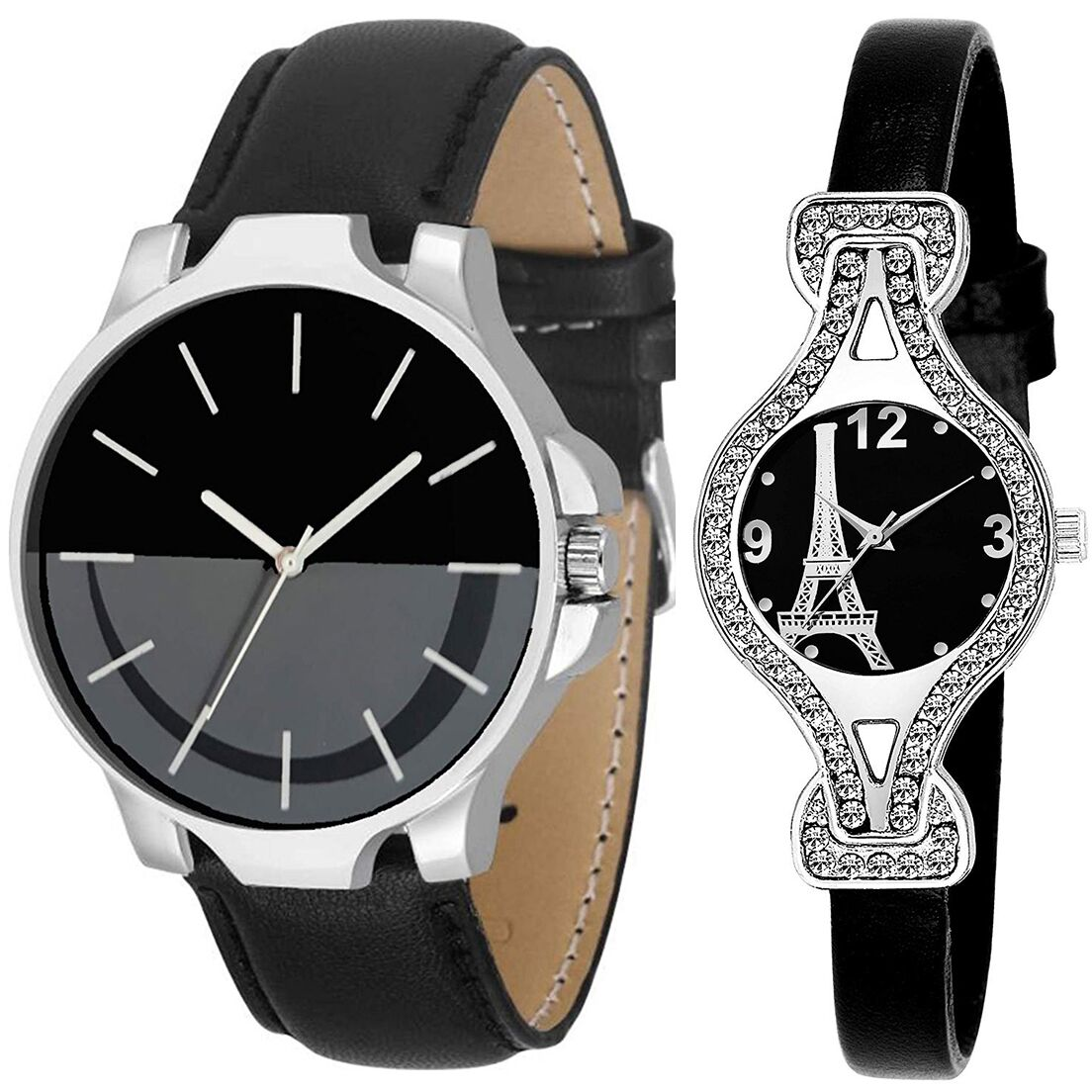 SENJARYA TIMES Black Dial Fancy Couple Watch For New Lovers DR103