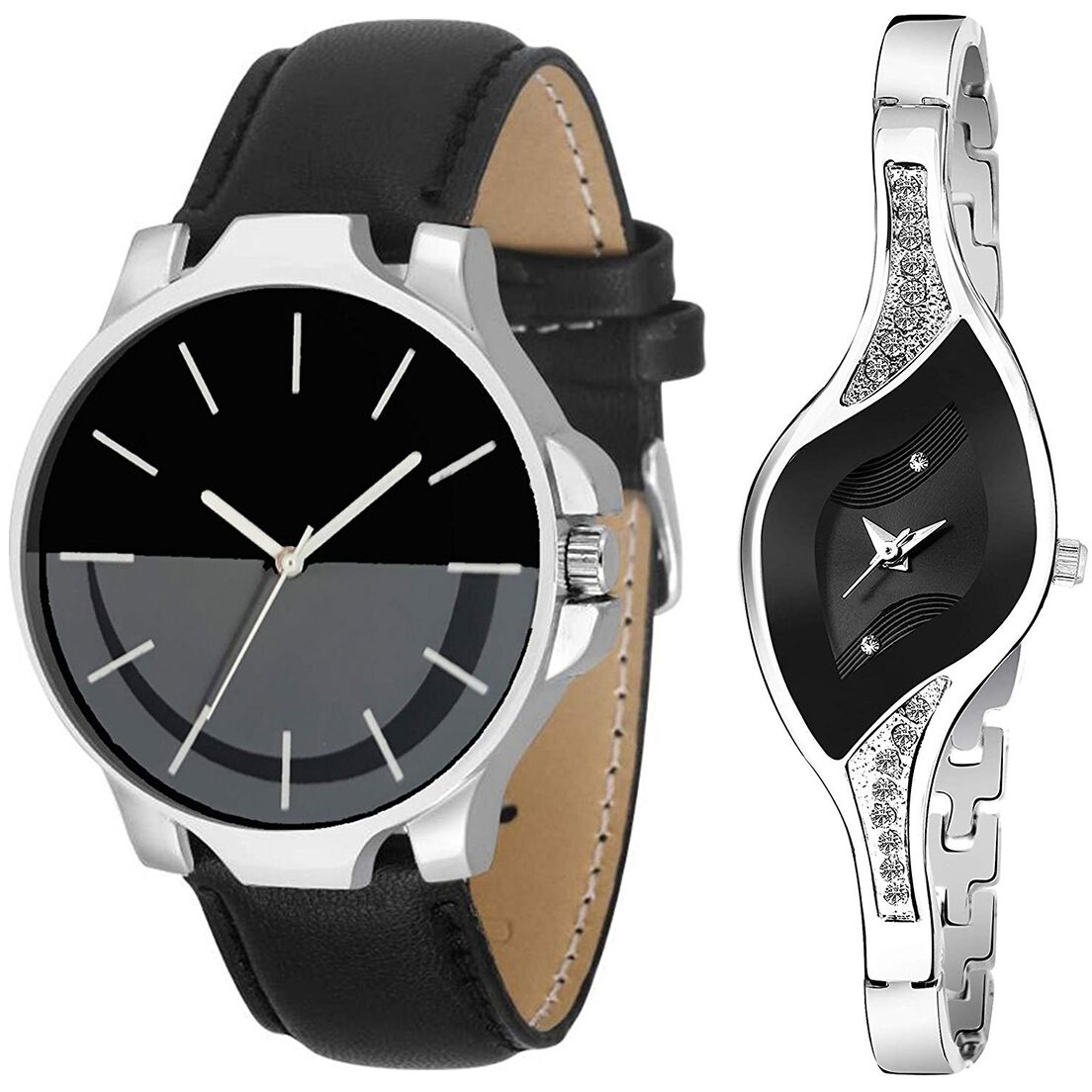 SENJARYA TIMES Black Dial Fancy Couple Watch For New Lovers DR104