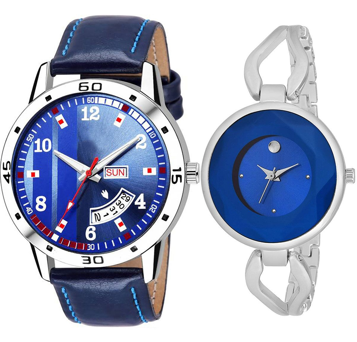 SENJARYA TIMES Blue Dial Day And Date New Stylish Couple Watch For Men And Women DR107