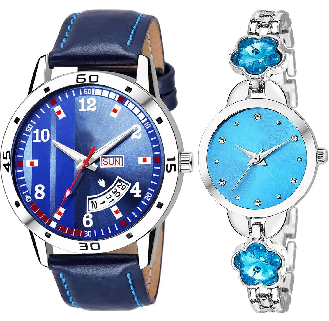 SENJARYA TIMES Blue Dial Day And Date New Stylish Couple Watch For Men And Women DR110