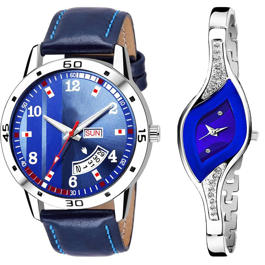 SENJARYA TIMES Blue Dial Day And Date New Stylish Couple Watch For Men And Women DR113