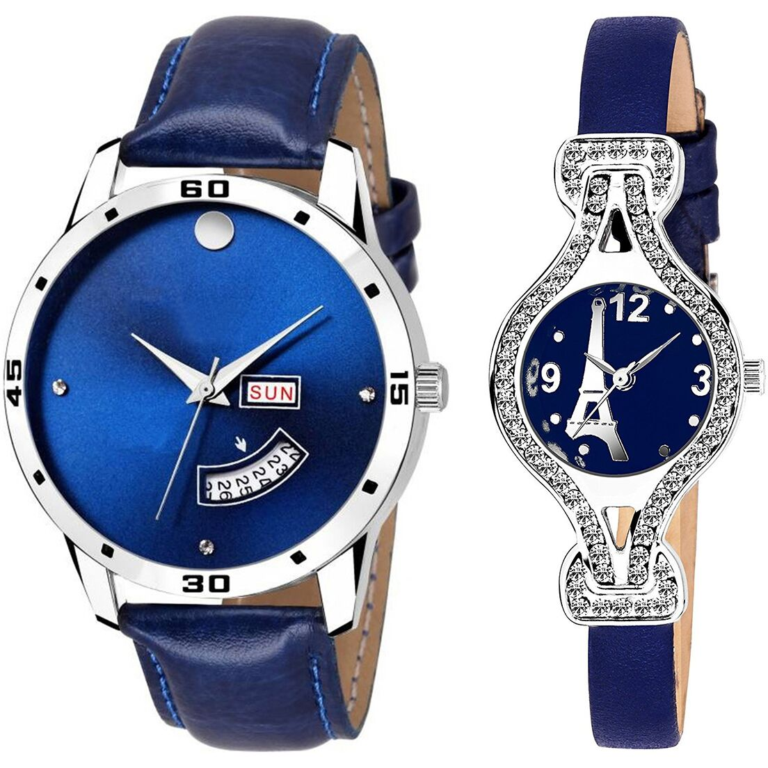 SENJARYA TIMES Blue Dial Day And Date New Stylish Couple Watch For Men And Women DR124