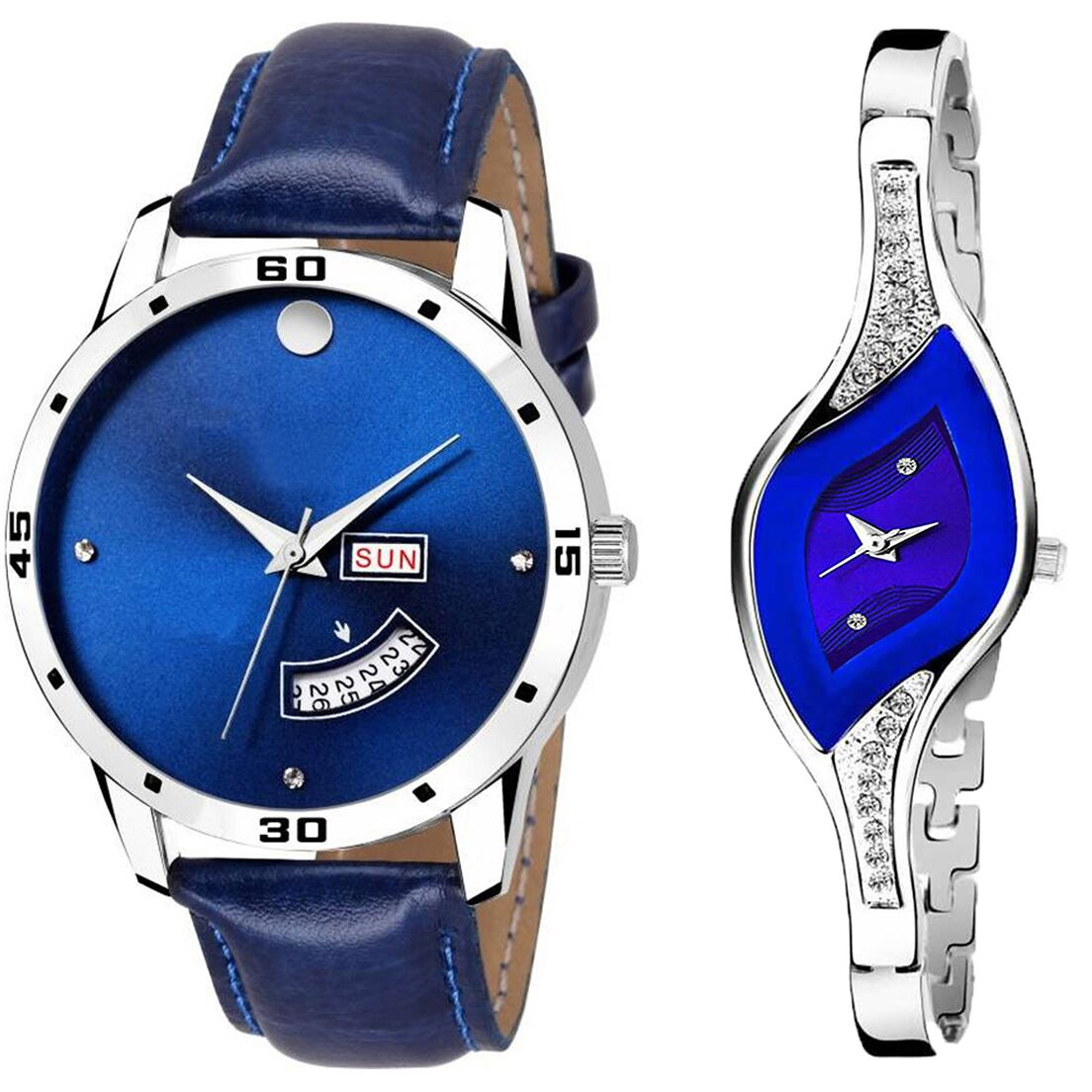 SENJARYA TIMES Blue Dial Day And Date New Stylish Couple Watch For Men And Women DR129