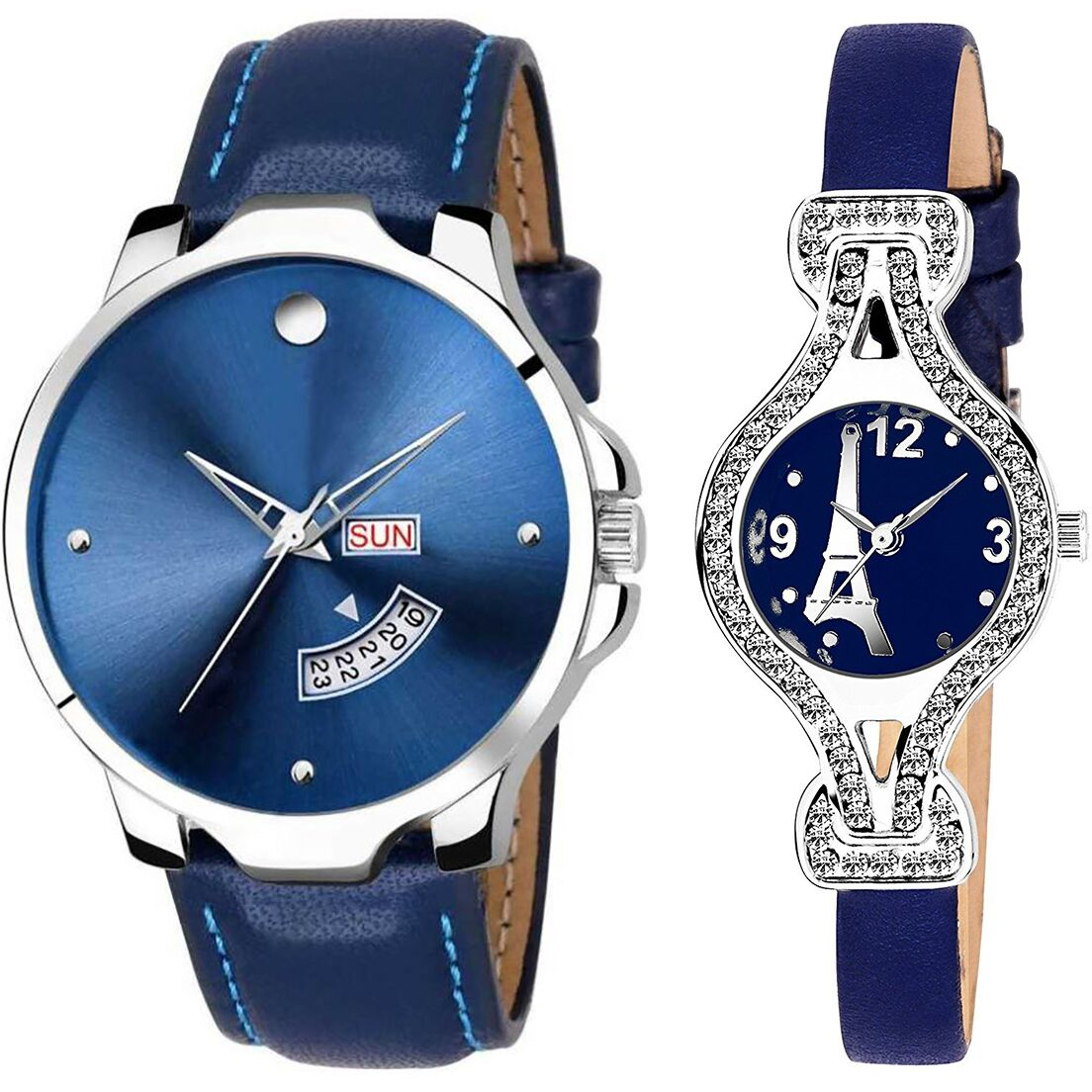 SENJARYA TIMES Blue Dial Day And Date New Stylish Couple Watch For Men And Women DR172