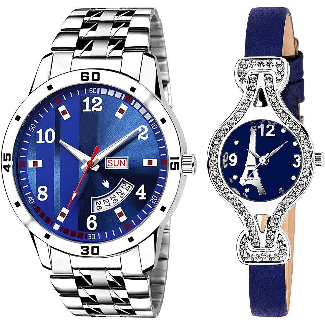 SENJARYA TIMES Blue Dial Day And Date New Stylish Couple Watch For Men And Women DR188