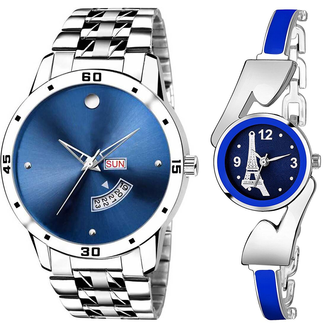 SENJARYA TIMES Blue Dial Day And Date New Stylish Couple Watch For Men And Women DR253