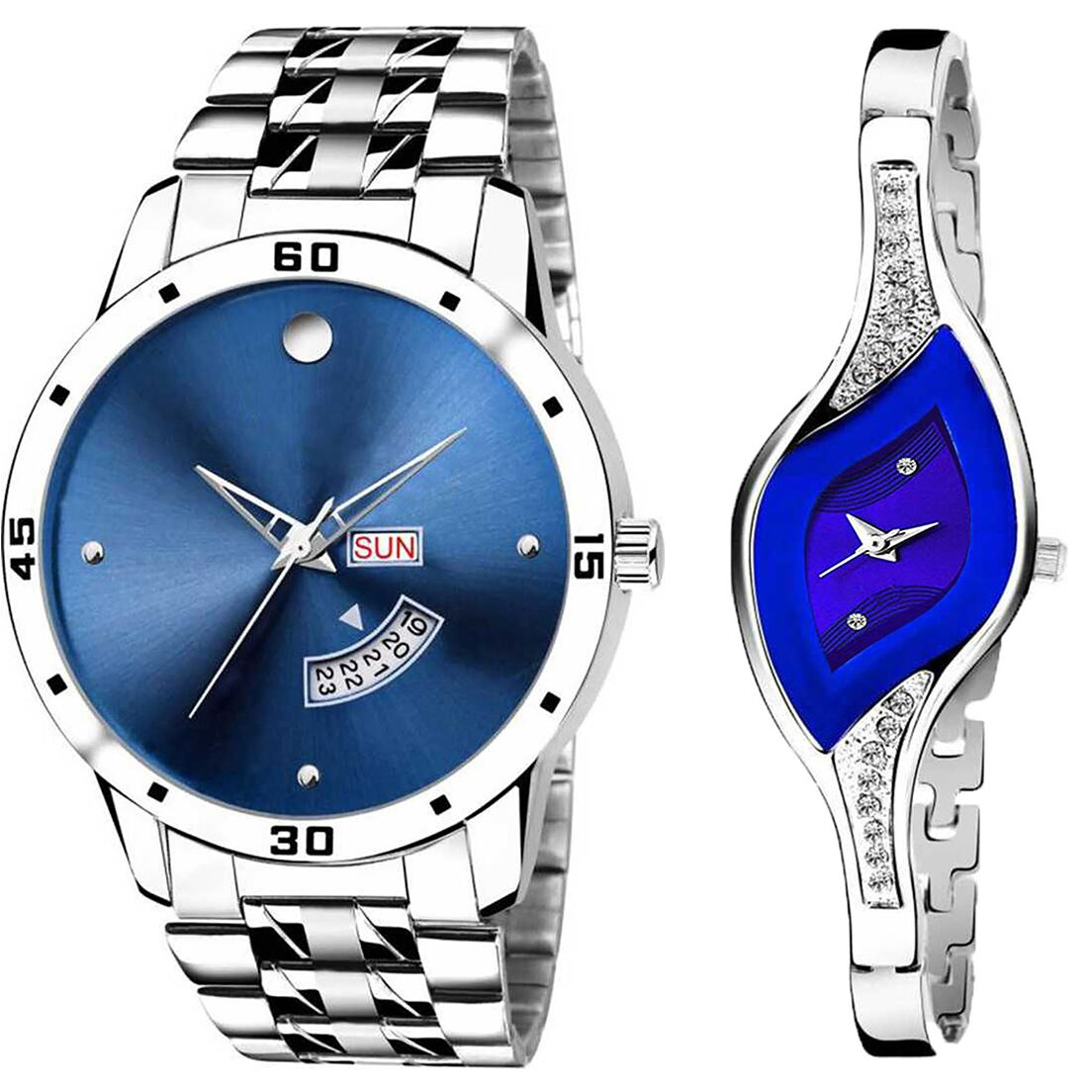 SENJARYA TIMES Blue Dial Day And Date New Stylish Couple Watch For Men And Women DR257