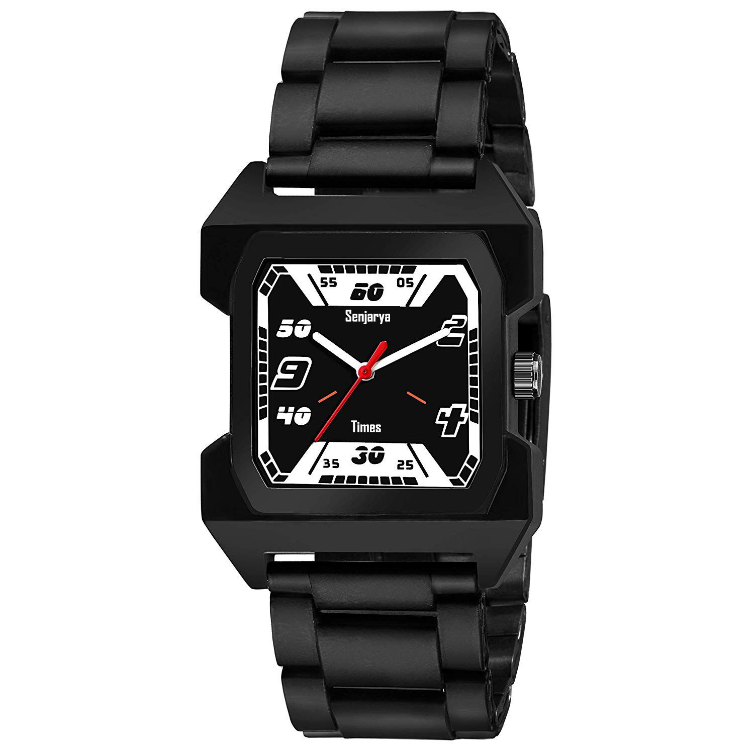 Senjarya Times New Fancy Black Square Dial  Watch For Boys And Mens FS_65