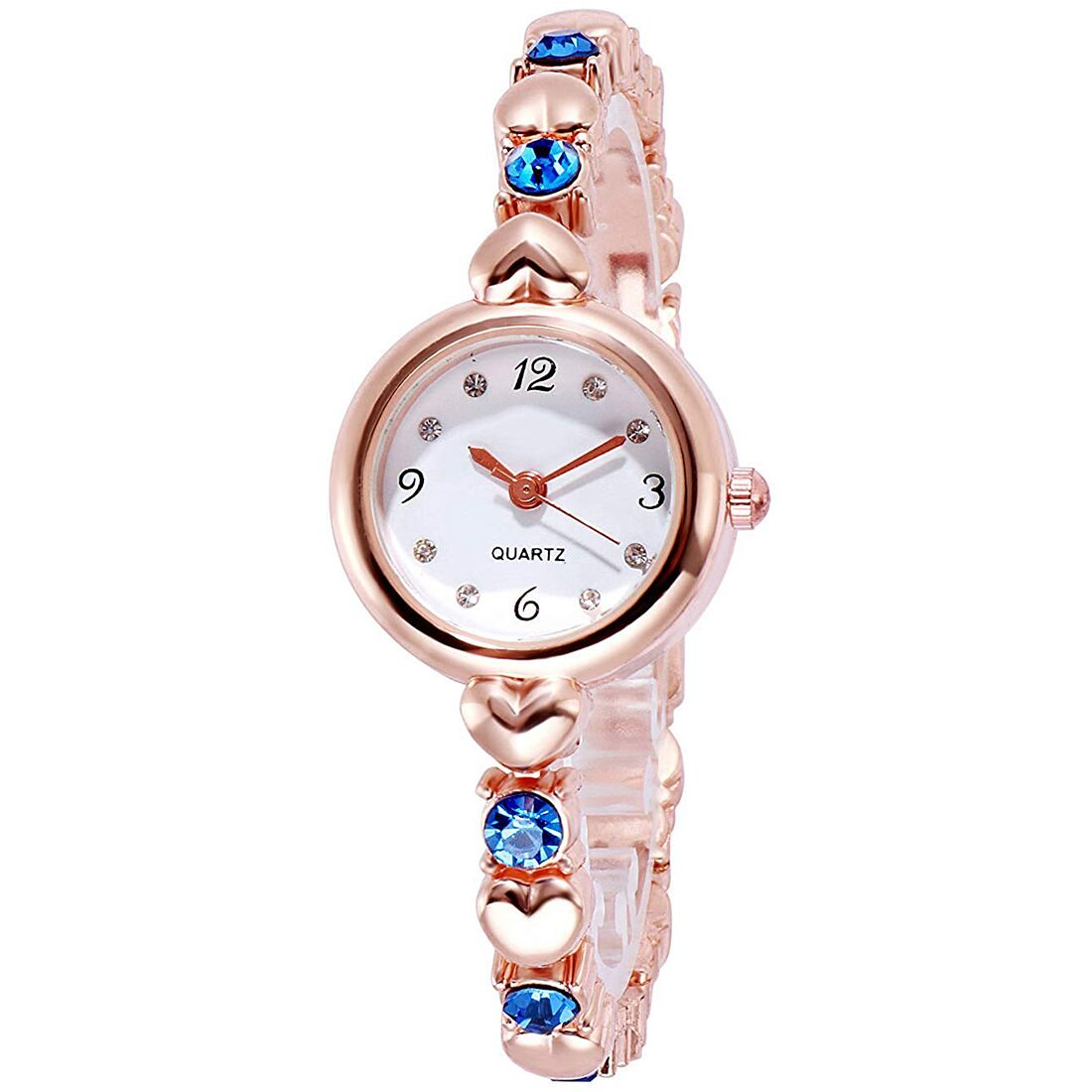 Senjarya Times White Dial Blue Stone Rose Gold Strap Design fancy bracelet tipe watch  For Women And Girls
